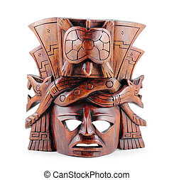 Mayan Mask - Hand-carved wooden Mayan mask isolated on a...