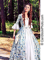 fancy dress - Beautiful young woman in medieval era dress on...