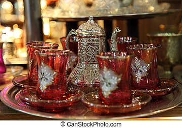 Traditional Turkish tea set at Grand Bazaar in Istanbul