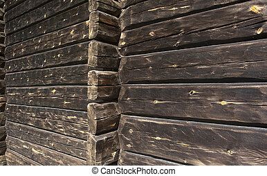 Timber wall - Close up of brown wall made of timber