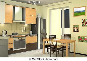 interior design of modern kitchen with equipment