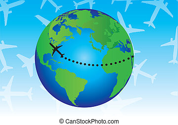 earth and travel - green and blue earth with black plane...