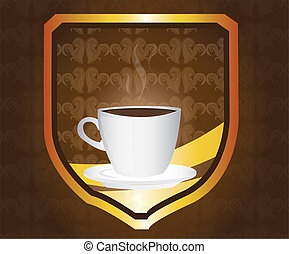 coffe background - brown and gold coffe emblem over brown...