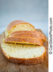 sicilian semolina yellow bread on wooden board