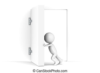3D little human character opens a massive door. Copy Space