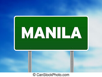 Manila Road Sign - Green Manila highway sign on Cloud...