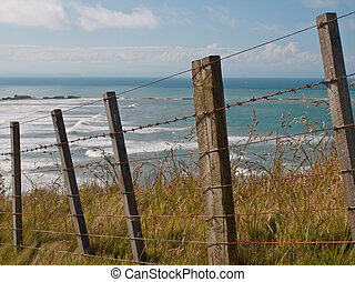 seascape over fence