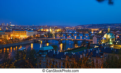Prague bridges at night