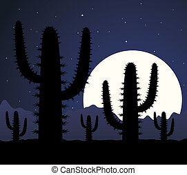 cactus in desert at night