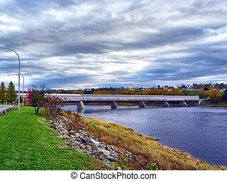 The longest covered bridge ever - view of the bridge from...