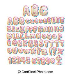 hand written Hollow Bubble font