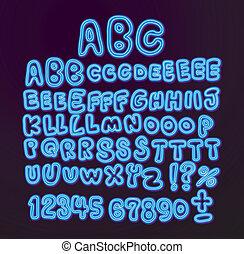 hand written Neon light font