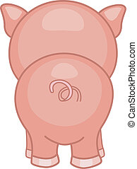 Pig Back View - Illustration of a Pig with its Back Turned