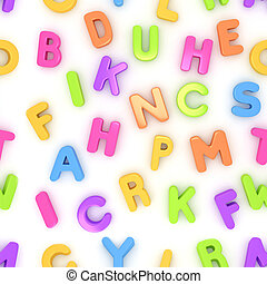 Preschool Seamless Alphabet - Seamless 3D Illustration of...