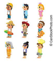 cartoon people job icons set