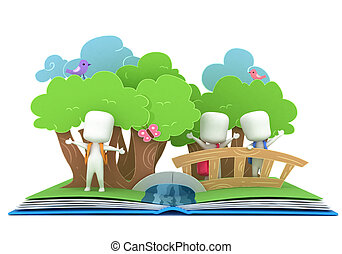 Pop Up Book - 3D Illustration of Kids Popping Out of a Pop...