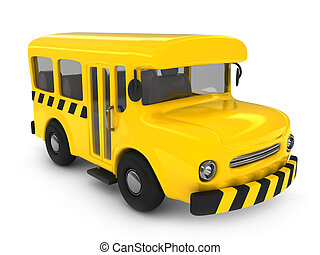Preschool Bus - 3D Illustration of a School Bus