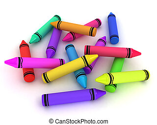 Crayons - 3D Illustration of Crayons of Different Colors