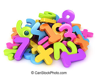 Preschool Numbers - 3D Illustration of Assorted Numbers and...