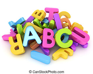 Alphabet - 3D Illustration of Assorted Letters of the...