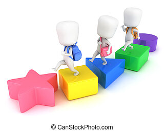 Basic Shapes - 3D Illustration of Kids Learning about Basic...
