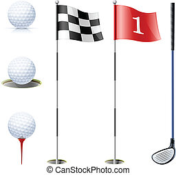 set of golf equipment vector illustration isolated on white...