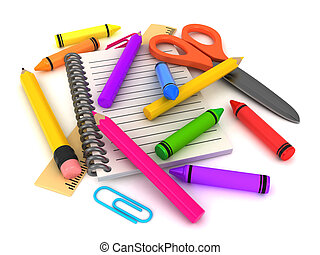 Preschool Supplies - 3D Illustration of Assorted School...