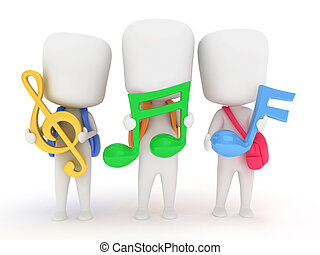 Musical Notes - 3D Illustration of Preschool Kids Holding...