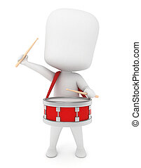 Kid Drummer - 3D Illustration of a Kid Playing with a Drum