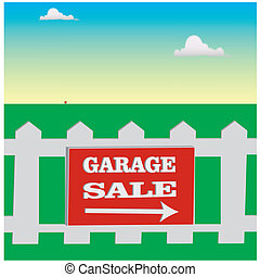 garage sale - Gaeage sale notice on the white fence