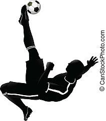 futebol, futebol, jogador, Ilustração