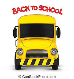 Back to School - 3D Illustration of a School Bus with a Back...