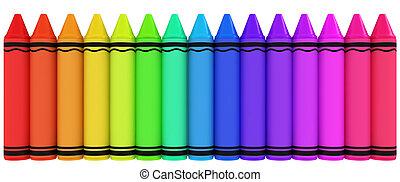 Crayons - 3D Illustration of Crayons of Varying Hues