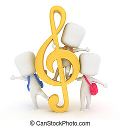 G-Clef Kids - 3D Illustration of Kids Playing Beside a...