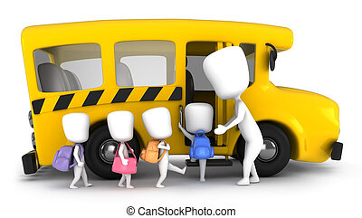 Preschool Kids - 3D Illustration of Kids Being Guided into a...