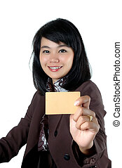 asian young businesswoman showing a blank card name isolated...