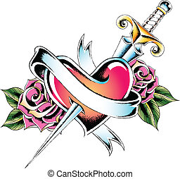 heart emblem with rose and sword