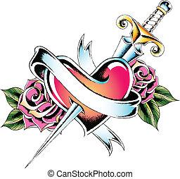 Coração, emblema, espada,  rosÈ