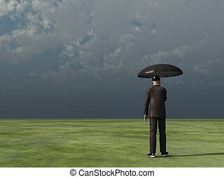man with umbrella under cloudy sky