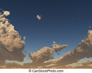 Sunset clouds with stars