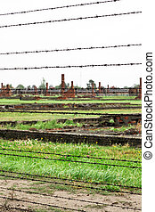 electric fence detail of  birkenau, auschwitz