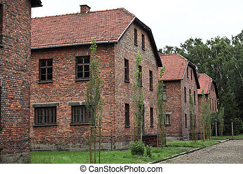 barracks in auschwitz - auschwitz camp, view on barracks