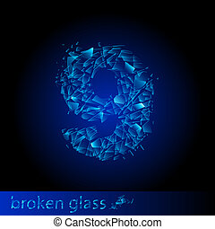 Broken glass  - digit nine