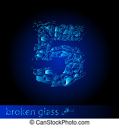 Broken glass  - digit five