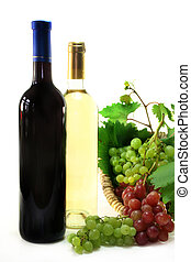 Wine bottles - two bottles of wine with grapes and leaves