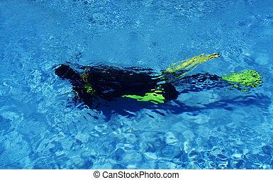 Scuba Diver Diving In Pool
