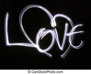 Lightbrushed Heart Against Black - Heart and letters painted...