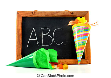 Blackboard with school cone - School board and school cone...