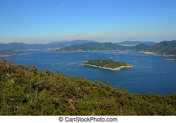 Seto Inland Sea in Japan as seen from Mt Misen on...