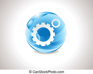 abstract glossy blue settings icon